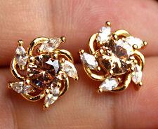 18K Yellow Gold Filled - Windmill Morganite Topaz Gemstone Women Party Earrings