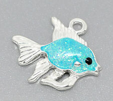 20 Silver Plated Enamel Goldfish Charm Pendants 19x17mm