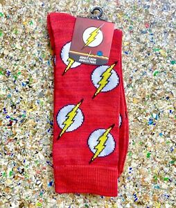 NEW Flash Crew Socks DC Comics Lightning Bolt Size 10-13 Warner Brothers WB Tube