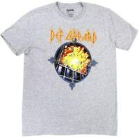 Def Leppard Mens Gray Short Sleeve Pyromania Rock Band Graphic T-Shirt
