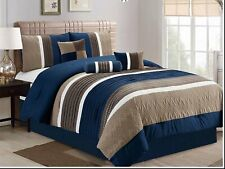 7Pcs Collection Bed in Bag Luxury Stripe Microfiber Comforter Set,King Size,Navy