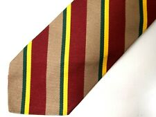 Vtg Brooks Brothers Boys Necktie Tie Brown Red Yellow Green Striped Repp
