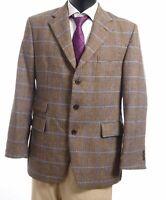 DAKS Sakko Jacket Edinburgh Gr.50 braun kariert Einreiher 3-Knopf -S212