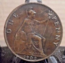 CIRCULATED 1902 PENNY UK COIN (82816)1