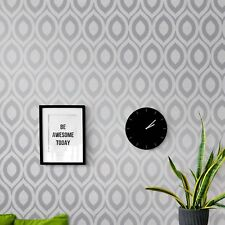 CROWN CHARCOAL GREY SILVER METALLIC GEOMETRIC QUALITY FEATURE WALLPAPER M1160