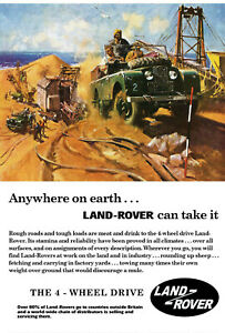Vintage Style 1950's Land Rover Pick-up 4x4 Retro Advert Gift A4, A3, A2 Poster