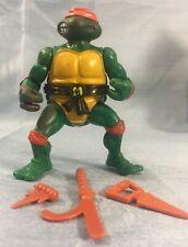 Vintage TMNT Ninja Turtles 1988 Mike Michelangelo Soft Head Belt & Accessories