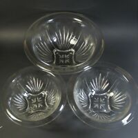 Federal Glass Set of 3 Clear STAR Nesting Mixing Bowls Rolled Rim Vintage 1940s