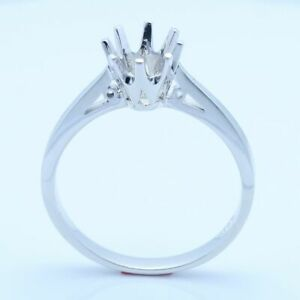 6.5mm Round Solitaire Wedding Vintage Jewelry Sterling Silver Semi Mount Ring