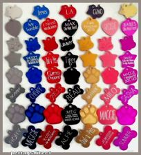 DOG & CAT Pet id Tags 3 for £7. Name Discs, Colour RED..Job Lot, DEEP ENGRAVED