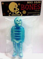 """Mike Egan Bones 7"""" Sofubi Blue Glow Frank Kozik HP Dia De Los Muertos Skeleton"""
