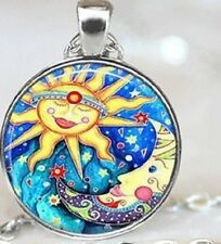 Vintage SUN & MOON Glass Cabochon Pendant necklace POP ART STYLE UK Seller
