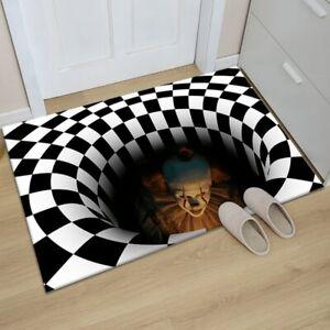 Carpet Home 3d Horror Manhole Cover Sewer Visual Clown Trap Halloween Floor Mat