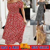 Womens Ladies Off Shoulder Boho Floral  Slit Summer Beach Party Long Maxi Dress