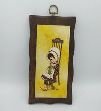 Vintage 1970s Ward Big Eyed Bonnet Girl Knitting In Chair Wall Plaque