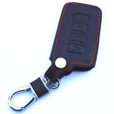 Black Genuine Leather Remote Smart Key Chain Holder Cover Case Fob For Toyota