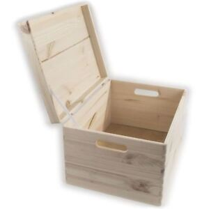 XLarge Wooden Toy Chest Trunk Storage Box With Hinged Lid & Handles / Unpainted