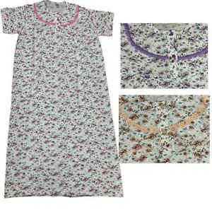 Ladies Nightwear 100% Cotton Nightie Short Sleeve Nightdress Floral Pattern Long