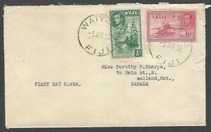 Fiji KGVI King George VI 1938 2v FDC used WAIYEPO to Canada
