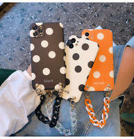 Polka Dot Soft Phone Case Cover Beed Chain For iPhone 12 11 Pro XR XS X 7 8 Plus