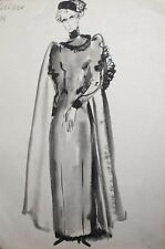 VINTAGE WATERCOLOR PAINTING WOMAN THEATRE COSTUME DESIGN SIGNED