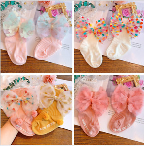 Kids Baby Girls Princess Bow Lace Tutu Flower Socks Newborn Toddler Ankle Socks