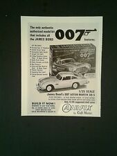 1966 James Bond 007 Airfix Aston Martin Model Cars Oddball Toy Plastic  Kits Ad