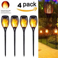 4 Pack 33LED flackernde Landschaft Lampe Tanzen Flamme Solar Fackel Garten Licht