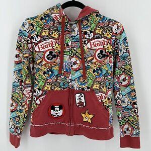 Disney Parks All Over Print Mickey Minnie Hoodie Sweatshirt Juniors M Characters
