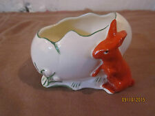 Vintage collectible ceramic egg dish w tulips & red rabbit, from Czechoslovakia