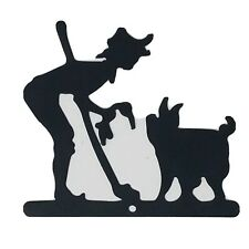 Rustic Home Collectible Black Metal Silhouette Sign Plaque Wall Decor Farmer Pig