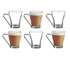 Urban Living Napoli Set of 2 220ml Glass Coffee Tea Cup With Metal Handle