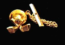 """Awesome 1/2"""" Brass Mini Golf Clubs Tie Tack"""
