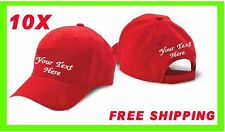BUY 10 CAP HAT !! WHITE, BLACK, RED or KHAKY CUSTOM EMBROIDERED PERSONALIZED