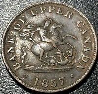 1857 Bank of Upper Canada 1/2 Half Penny Bank Token Canadian Coin Nice!