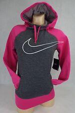 New Womens NIKE XS Therma Fit Fuschia Charcoal Hoody Jacket $55 665889-063