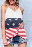 NWT Boutique Patriotic Red White Blue Stars Stripes Tank Top Tie Front USA S M L