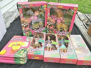1988 Animal Lovin' Barbie Lot of 12 dolls, animals, fashions, *NRFB*