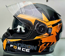 CROSS - Yohe -  Black Orange - Full Face Dual Visor Imported Motorcycle Helmet