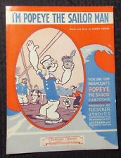1964 I'M POPEYE THE SAILOR MAN Sheet Music FN- 5.5 4pgs