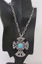 Women Silver Metal Long Fashion Necklace Big Round Cross Rhinestone Earring Set