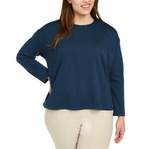 Eileen Fisher Womens Navy Crew Neck Comfy Tee Top Shirt Plus 2X BHFO 5959