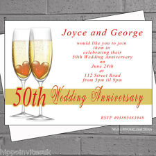 Golden Wedding Anniversary Invitations Personalised 50th Champagne  x 12 H1458