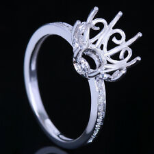 10K White Gold 10MM Round Semi-Mount Setting Natural Diamonds Wedding Fine Ring