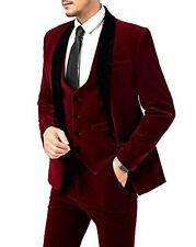 Hombre Granate Terciopelo Trajes de Diseño Boda Novios Informal (Abrigo + Body +