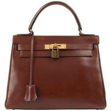 HERMES c.1964 Kelly 28 cm Brown Box Calf Leather Top Handle Purse