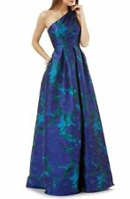 CARMEN MARC VALVO INFUSION FLORAL BROCADE PLEATED ONE SHOULDER BALLGOWN sz 8