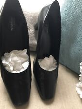 Easy Spirit Anti Gravity Size 7.5 Black Leather Heeled Court Shoes Square Toes