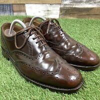 UK8 Loake Oxford Brogue Brown Leather Dress Shoes - Formal Lace Up - England