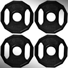 """Cast Iron Black Polygonal Weight Plates 4 x 1.25kg fit 2"""" Olympic Bars"""